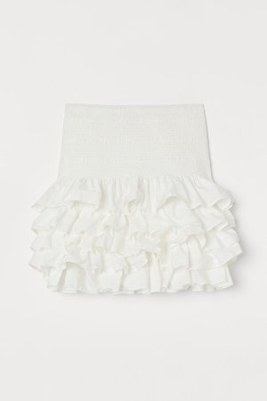 Ruffled Cotton Skirt - White