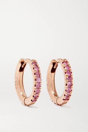 Rose gold 18-karat rose gold sapphire hoop earrings | Ileana Makri | NET-A-PORTER