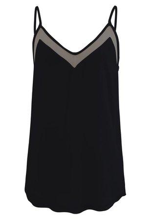 Mesh Spliced Tank Top in Black - Retro, Indie and Unique Fashion