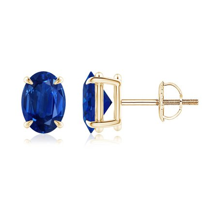 Claw-Set Solitaire Oval Sapphire Stud Earrings