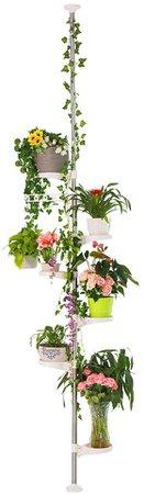Amazon.com : BAOYOUNI 7-Layer Indoor Plant Stands Spring Tension Pole Metal Flower Display Rack Space Saver Corner Floral Pot Hanger Shelf, Ivory : Garden & Outdoor