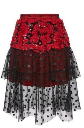 Red + Black mesh skirt