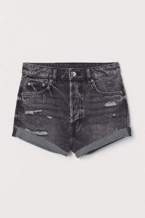 Denim Shorts High Waist - Gray