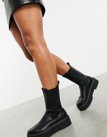 ASOS DESIGN Alana chunky chelsea boots in black | ASOS