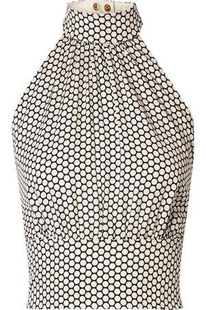 Diane von Furstenberg   Polka-dot stretch-silk crepe halterneck top   NET-A-PORTER.COM