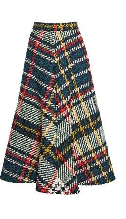 Rosie Assoulin Plaid Wool-Blend Skirt