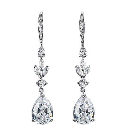 Amazon.com: SWEETV Wedding Cubic Zirconia Earrings for Women, Brides, Bridesmaids -Teardrop Crystal Rhinestones Dangle Earrings, Silver: Jewelry