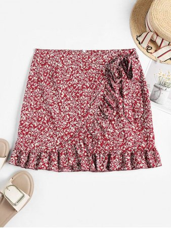 [31% OFF] [HOT] 2020 Tiny Floral Ruffles Overlap Skirt In RED | ZAFUL