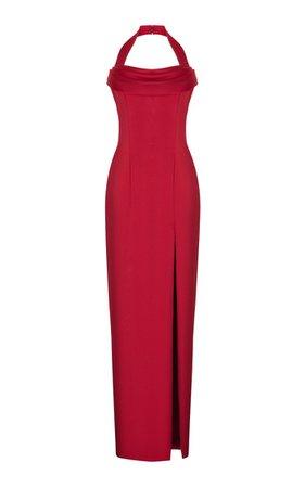 Draped Satin Maxi Dress With Wide Straps By Rasario | Moda Operandi