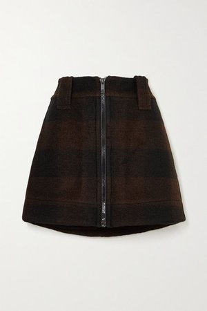 Checked Wool-blend Mini Skirt - Black