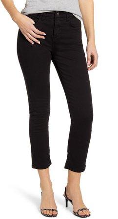 High Waist Ankle Slim Straight Leg Jeans