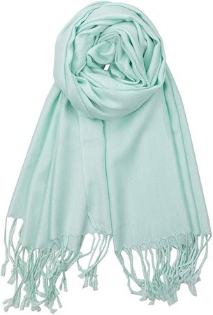 Achillea Large Soft Silky Pashmina Shawl Wrap Scarf in Solid Colors (Mint Green) at Amazon Women's Clothing store