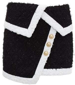 Asymmetric Tweed Mini Skirt - Womens - Black White