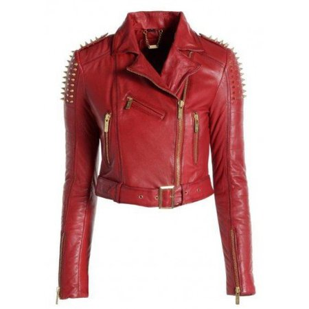 red leather jacket spikes