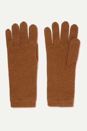 Brown Cashmere gloves | Johnstons of Elgin | NET-A-PORTER