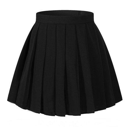 High Waisted Pleated Skirt - Black
