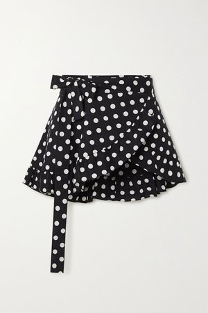 Black Ruffled polka-dot cotton-blend wrap mini skirt | Caroline Constas | NET-A-PORTER