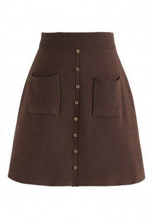 Charm in This Way Mini Knit Skirt in Brown - Retro, Indie and Unique Fashion