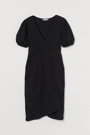 MAMA Cotton Wrap Dress - Black