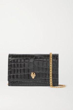 Skull Small Embellished Croc-effect Patent-leather Shoulder Bag - Black