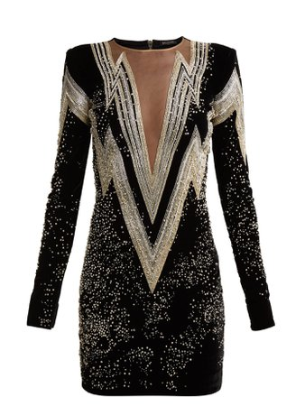 Crystal and bead-embroidered velvet mini dress | Balmain | MATCHESFASHION.COM