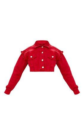 Red Ruffle Cropped Denim Jacket   Jackets   PrettyLittleThing USA