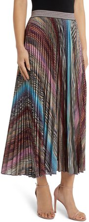 Metallic Stripe Pleated Skirt