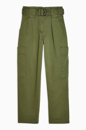 Khaki Belted Utility Trousers | Topshop