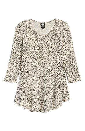 Bobeau Cheetah Print Babydoll Knit Top   Nordstrom