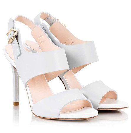 Fratelli Karida Light grey & white leather stiletto heel sling-back sandals | Fratelli Karida Shoes