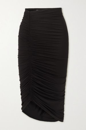 Langston Asymmetric Ruched Stretch-jersey Skirt - Black