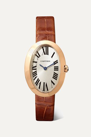Rose gold Baignoire 24.5mm small 18-karat pink gold and alligator watch | Cartier | NET-A-PORTER