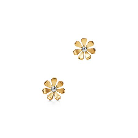 Return to Tiffany® Love Bugs daisy earrings in 18k gold and sterling silver. | Tiffany & Co.