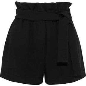 Belted Gathered Stretch-jersey Shorts