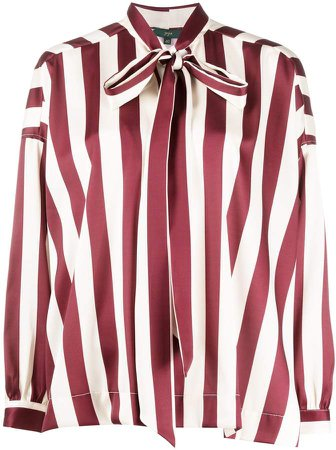 Striped Pussy Bow Blouse