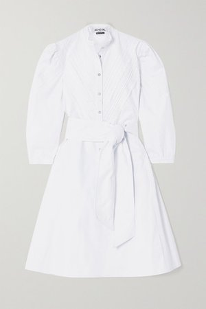 Yegua Belted Crocheted Lace-trimmed Cotton-blend Poplin Dress - White