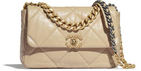 Bolso grande con solapa CHANEL 19, tela de algodón, piel de ternera, metal dorado, plateado y acabado rutenio, bronce - CHANEL