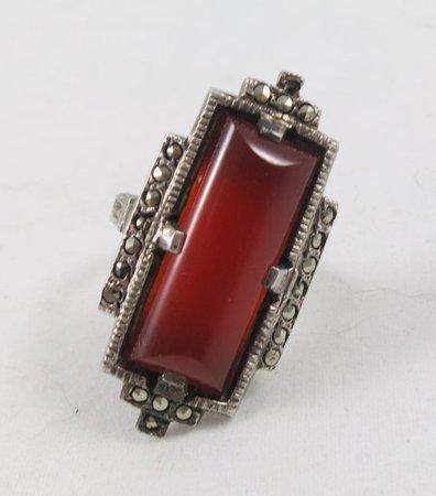Vintage Art Deco Dark Red Carnelian Marcasite & Sterling | Etsy