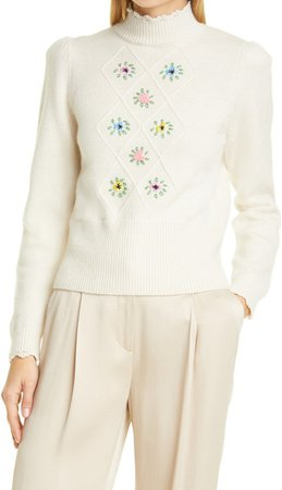 Embroidered Turtleneck Wool Blend Sweater