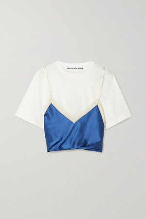 White Layered lace-trimmed silk-satin and cotton-jersey top | Alexander Wang | NET-A-PORTER