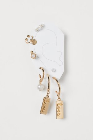 Earrings and Ear Cuffs - Gold-colored/white - Ladies   H&M US
