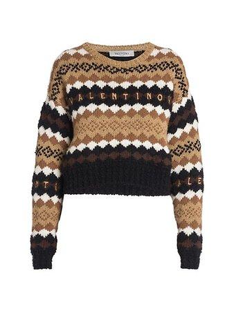 Valentino Embroidered Logo Pullover Sweater | SaksFifthAvenue