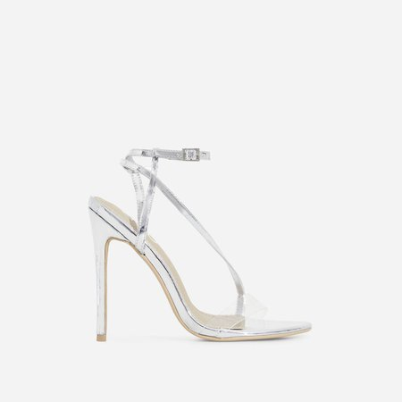 Mystic Perspex Barely There Heel In Silver Patent | EGO