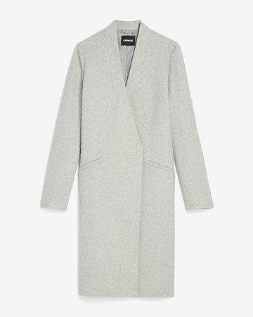 Collarless Wool-blend Car Coat | Express