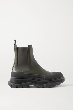 Leather Exaggerated-sole Chelsea Boots - Army green