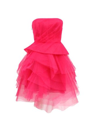 hot pink ruffle tulle strapless dress