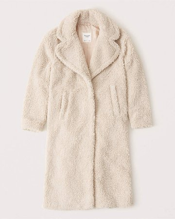 Women's Long Sherpa Coat | Women's New Arrivals | Abercrombie.com ivory