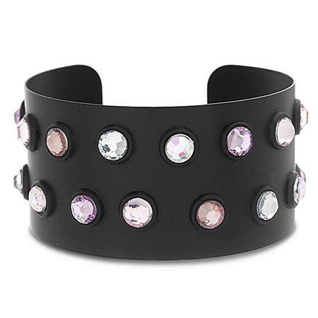 Amazon.com: Steve Madden Women's Multicolored Iridescent Rhinestone Studded Black-Tone Wide Cuff Bracelet, One Size: Clothing
