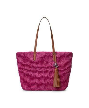 Lauren Ralph Lauren Crochet-Straw Medium Whitney Tote & Reviews - Handbags & Accessories - Macy's