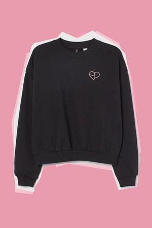 H&M+ Printed Sweatshirt - Black/Blackpink - Ladies   H&M US